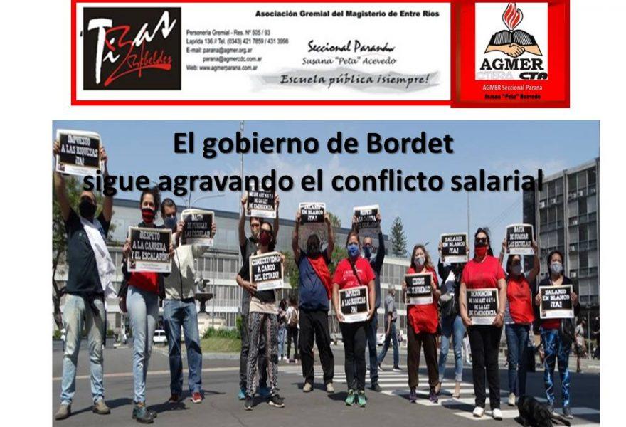 El gobierno de Bordet sigue agravando el conflicto salarial
