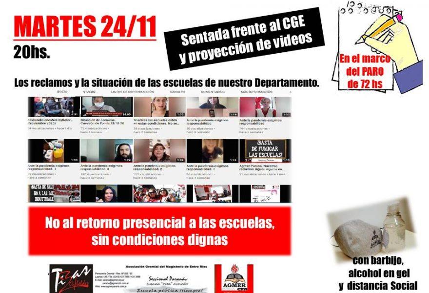 MARTES 24/11. Sentada y proyección de videos frente al CGE.