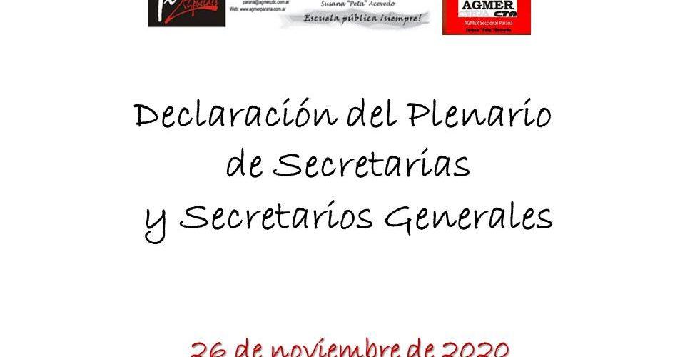 Declaración del Plenario de Secretarias y Secretarios Generales