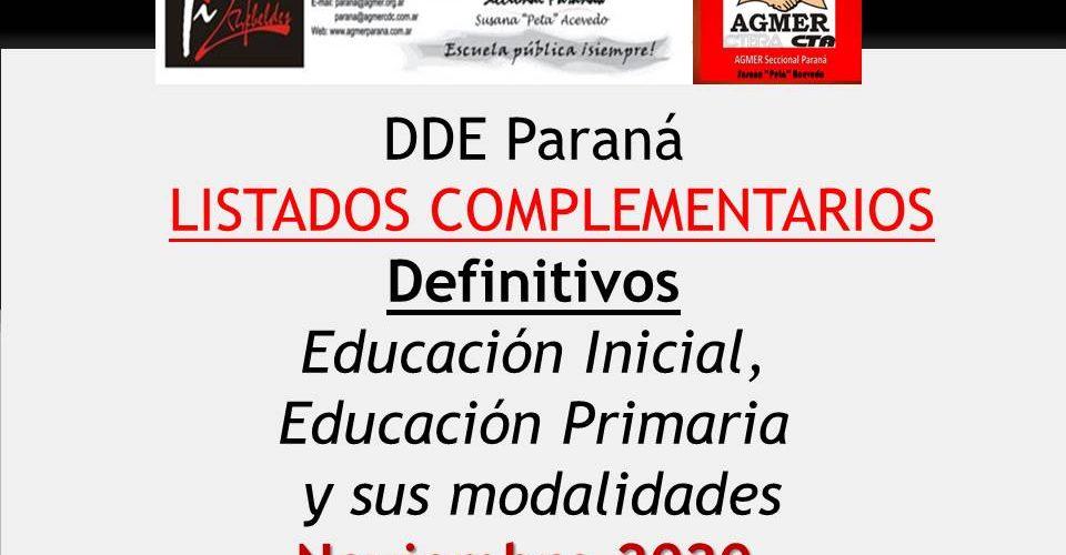 DDE Paraná –  LISTADOS COMPLEMENTARIOS Definitivos- Educación Inicial, Educación Primaria y sus modalidades – Noviembre 2020