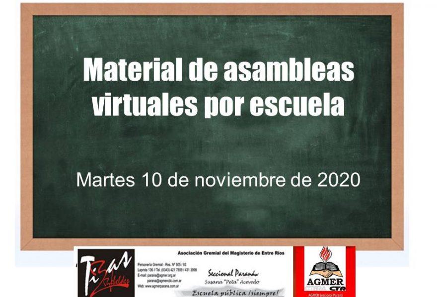 Martes 10 de Noviembre. Materia de Asambleas por escuelas