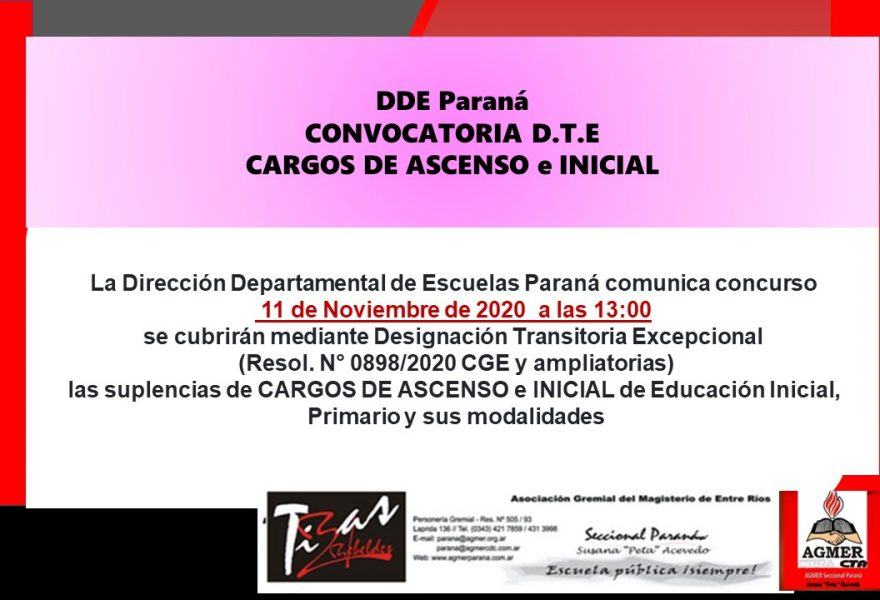 DDE Paraná – CONVOCATORIA D.T.E.- CARGOS DE ASCENSO e INICIAL Resol.N°0898/20 CGE 11 Noviembre de 2020