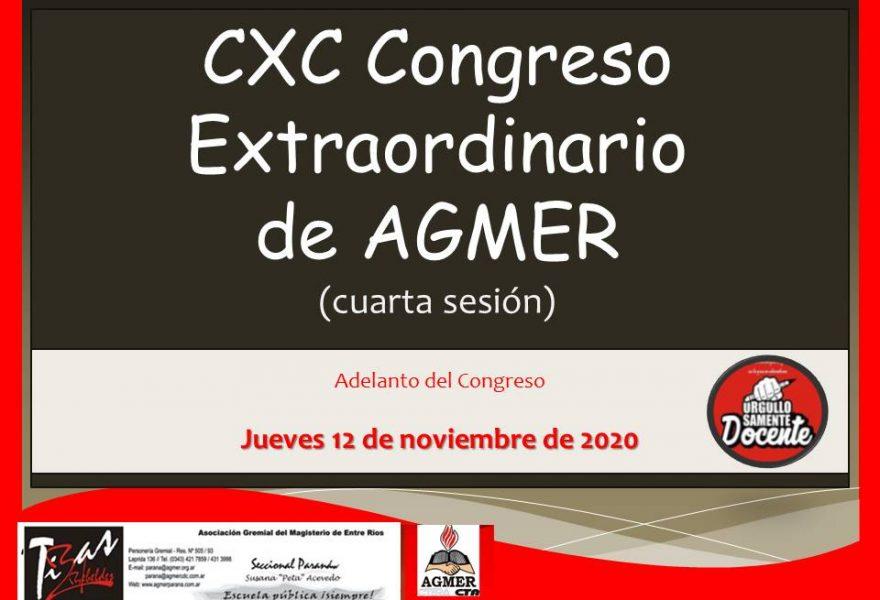 CXC Congreso Extraordinario de AGMER  (cuarta sesión) Adelanto de Resoluciones