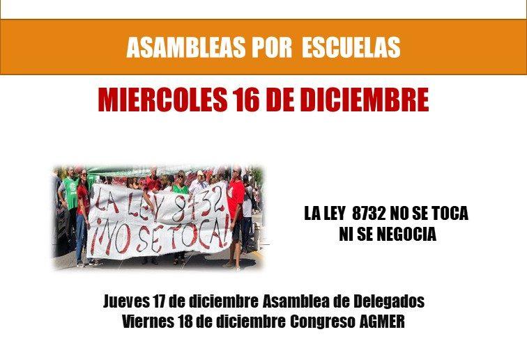 MATERIAL DE ASAMBLEAS. Miércoles 16 de diciembre de 2020, Asambleas por escuelas