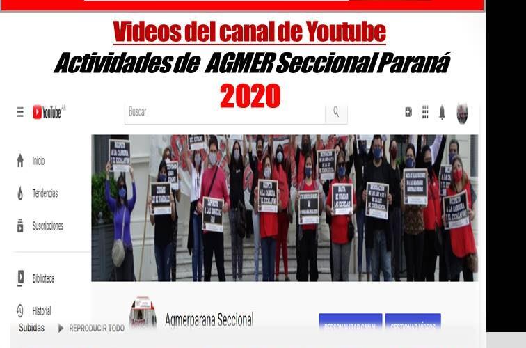 """Memoria 2020.  Te invitamos a ver y compartir nuestros videos del canal  Youtube Agmer seccional Paraná. Susana """"Peta"""" Acevedo"""