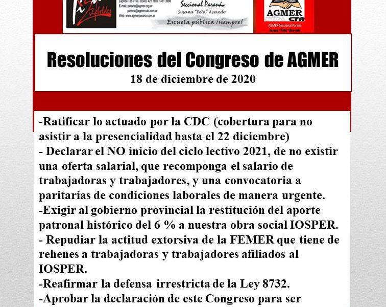 Compartimos un adelanto de las Resoluciones del Congreso Extraordinario de AGMER que sesionó de manera virtual