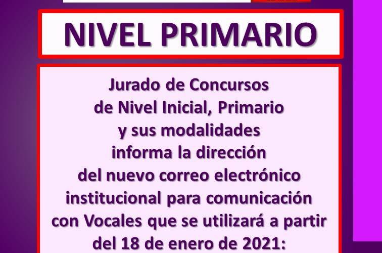 Nuevo correo electrónico institucional para comunicación con Vocales.  Jurado de Concursos de Nivel Inicial, Primario y sus modalidades