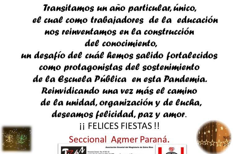 Felices Fiestas les desea Agmer Seccional Paraná