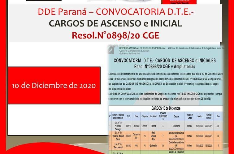 DDE Paraná – CONVOCATORIA D.T.E.- CARGOS DE ASCENSO e INICIAL Resol.N°0898/20 CGE 10 de Diciembre de 2020