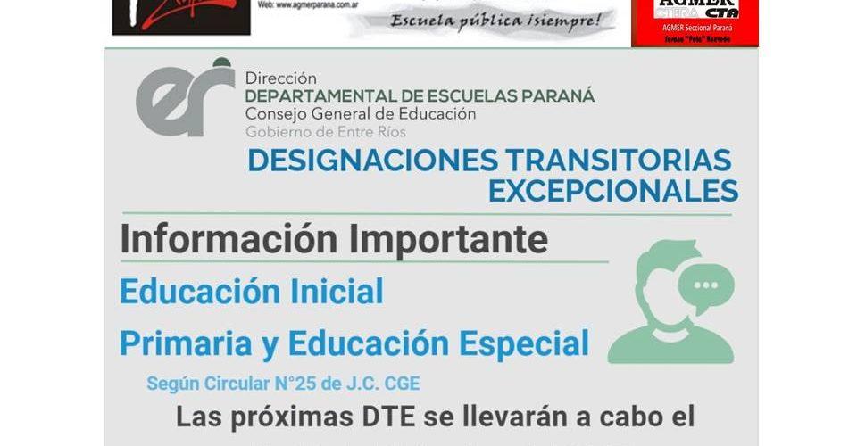 Dptal Paraná – Comunicado – DTE Educación Inicial Primaria y Educación Especial
