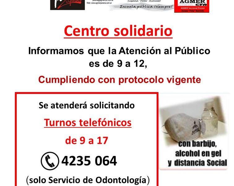 Atención del Centro solidario, con turnos telefónicos