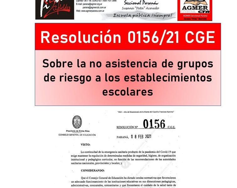 Resolución 156/21 CGE. Sobre la no asistencia de grupos de riesgo a los establecimientos escolares