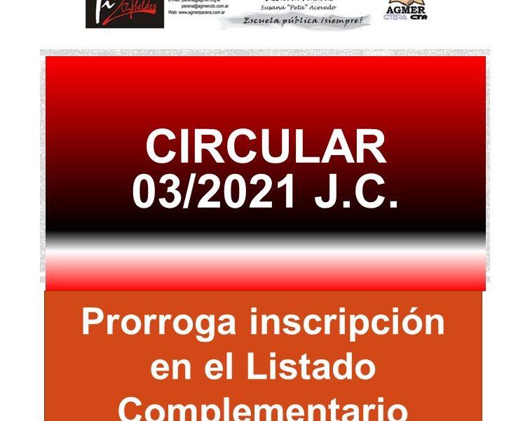 Circular 03/2021 J.C. Prorroga inscripción en el Listado Complementario