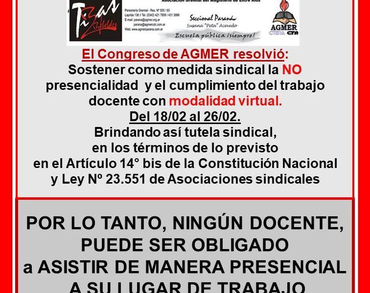 Plan de lucha resuelto por el Congreso de Agmer. Febrero 2021.