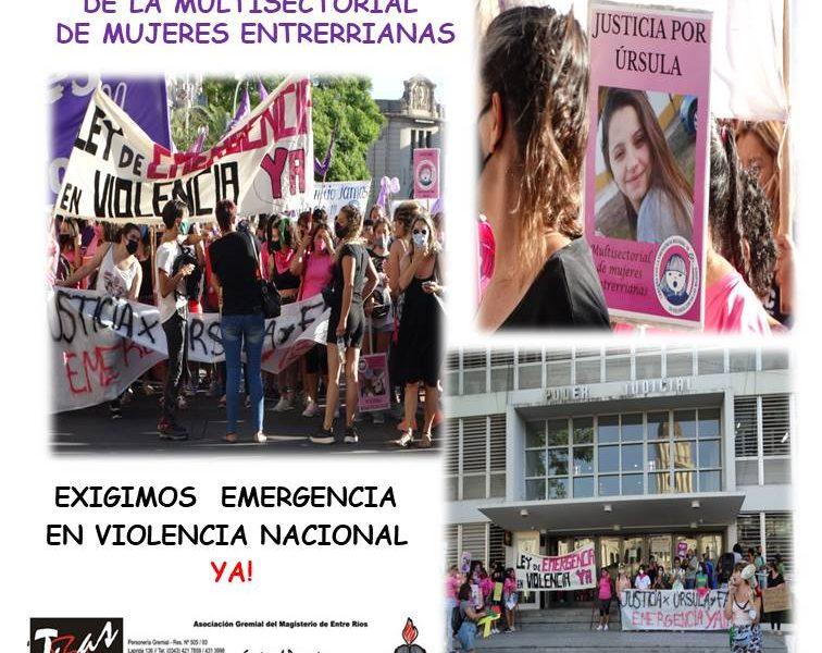 DOCUMENTO DE LA MULTISECTORIAL DE MUJERES ENTRERRIANAS. EXIGIMOS EMERGENCIA EN VIOLENCIA NACIONAL YA!