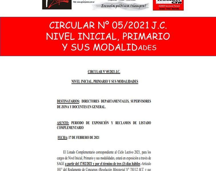 CIRCULAR Nº 05/2021 J.C.  NIVEL INICIAL, PRIMARIO  Y SUS MODALIDADES
