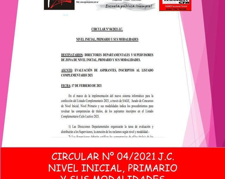 CIRCULAR Nº 04/2021 J.C. NIVEL INICIAL, PRIMARIO Y SUS MODALIDADES