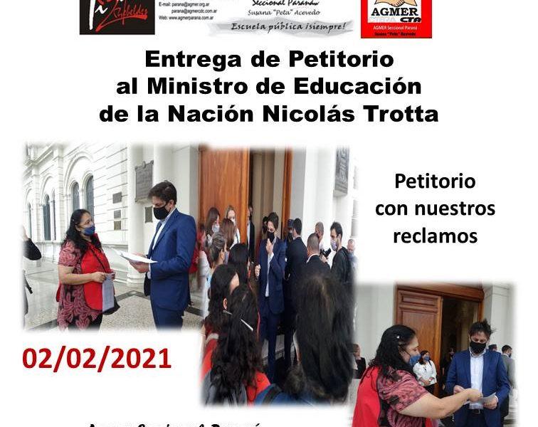 Petitorio al Ministro de Educación de la Nación Nicolás Trotta