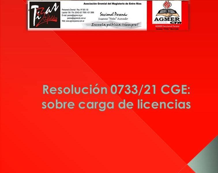Resolución 0733/21 CGE: sobre carga de licencias