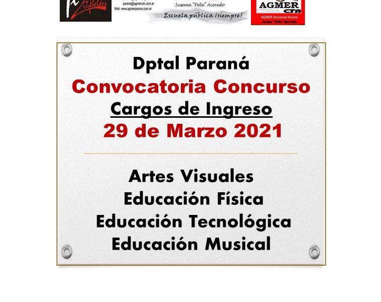 Dptal Paraná – Convocatoria Concurso Cargos de Ingreso –  29 de Marzo 2021 – Artes Visuales – Educación Física – Educación Tecnológica – Educación Musical
