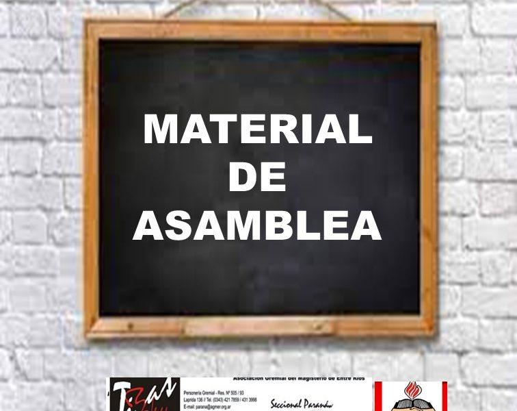 Asambleas en las escuelas. Para analizar propuesta salarial. 29 y 30 de marzo. 31 de marzo Congreso AGMER