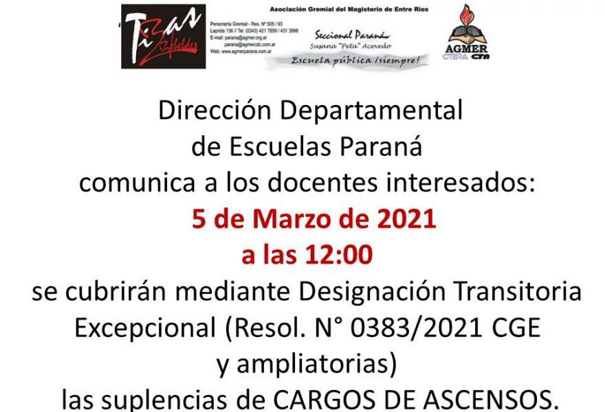 Dirección Departamental de Escuelas Paraná comunica  suplencias de CARGOS DE ASCENSOS.