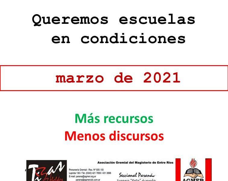 Queremos escuelas en condiciones. Videos de condiciones de infraestructura escuelas de Paraná