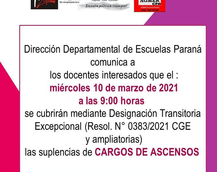 D.D. E. Paraná comunica Concurso de suplencias de Ascenso. Nivel Inicial – Educación Especial – Nivel Primario.  10 de Marzo de 2021
