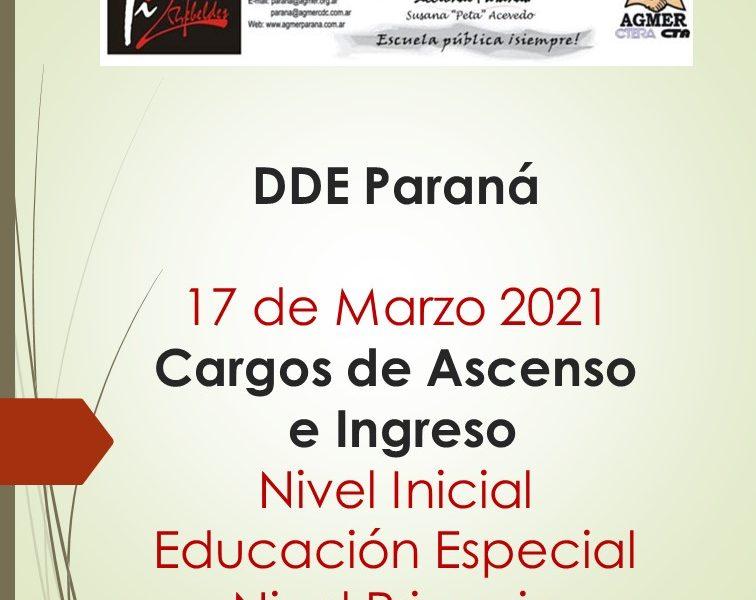 DDE Paraná – DTE 17 de Marzo 2021 – Cargos de Ascenso e Ingreso – Nivel Inicial – Educación Especial – Nivel Primario