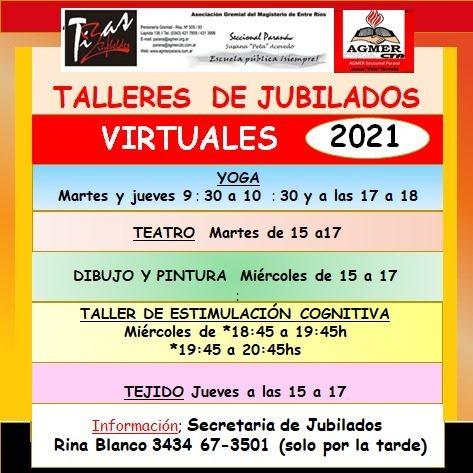 Talleres de Jubilados, 2021, Virtuales