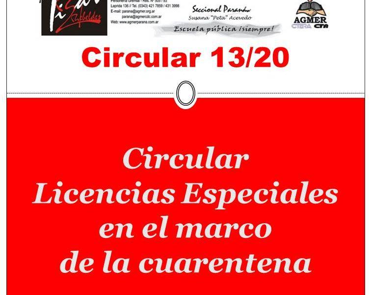 Circular Licencias Especiales en el marco de la cuarentena