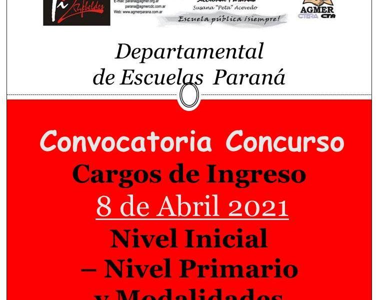 D.D.E. Paraná  Convoca a concurso  el día 8 de abril 2021 – Cargos de Ingreso: Nivel Inicial – Primario y Modalidades. AMPLIATORIA