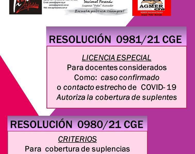 Resolución 0980/21 CGE y Resolución 0981/21 CGE. Sobre licencias de casos confirmados y contactos estrechos. Cobertura de suplencias