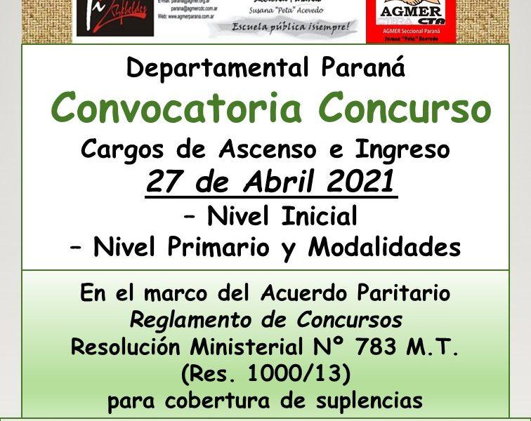 Departamental Paraná – Convocatoria Concurso Cargos de Ascenso e Ingreso –  27 de Abril 2021 – Nivel Inicial – Nivel Primario y Modalidades