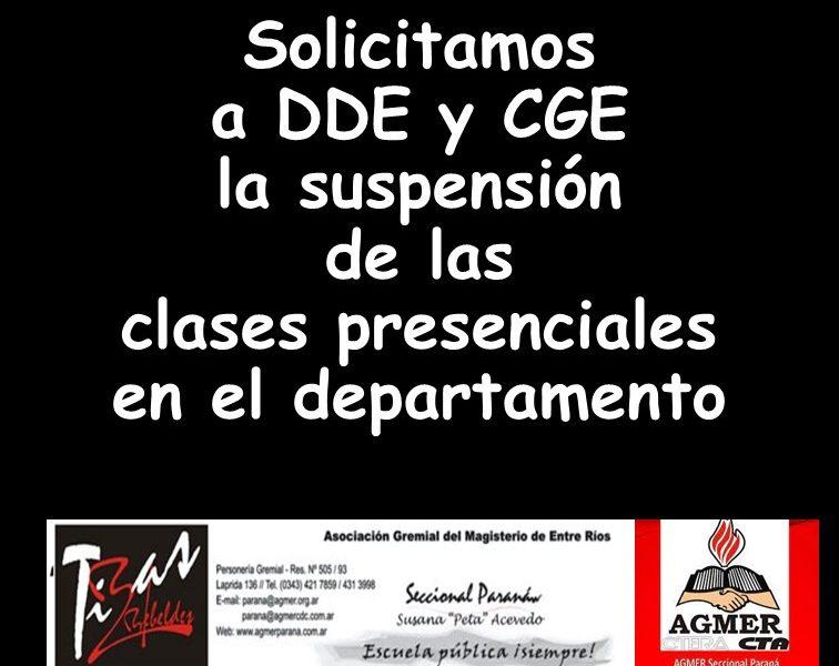 Ante la crítica situación, Agmer Paraná exige la suspensión de la presencialidad en el departamento Paraná