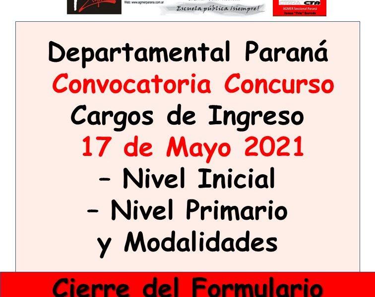 D.D.E. Paraná – Convoca a concurso el día 17 de Mayo 2021 Cargos de Ingreso de Nivel Inicial – Primario y Modalidades.