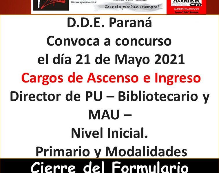 D.D.E. Paraná – Convoca a concurso  el día 21 de Mayo 2021 – Cargos de Ascenso e Ingreso Director de PU – Bibliotecario y MAU – Nivel Inicial – Primario y Modalidades