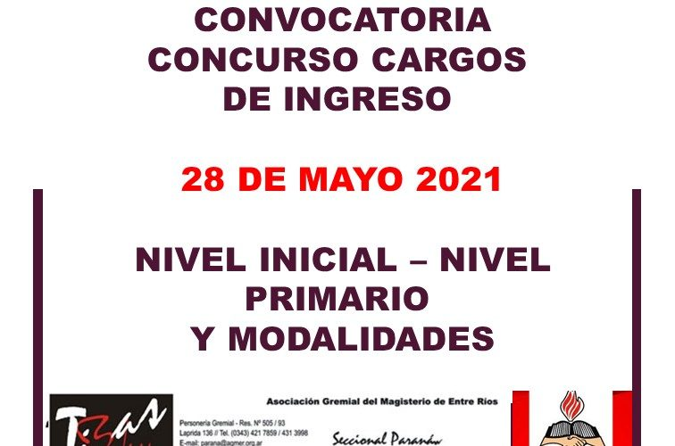 Departamental de Escuelas Paraná – Convocatoria Concurso Cargos de Ingreso – 28 de Mayo 2021 – Nivel Inicial – Nivel Primario y Modalidades