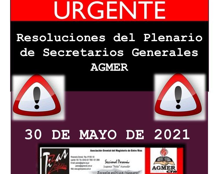 URGENTE: RESOLUCIONES DEL PLENARIO DE SECRETARIOS GENERALES