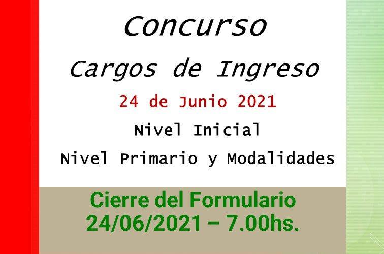 Dptal Paraná – Convocatoria Concurso Cargos de Ingreso – 24 de Junio de 2021 – Nivel Inicial – Nivel Primario y Modalidades