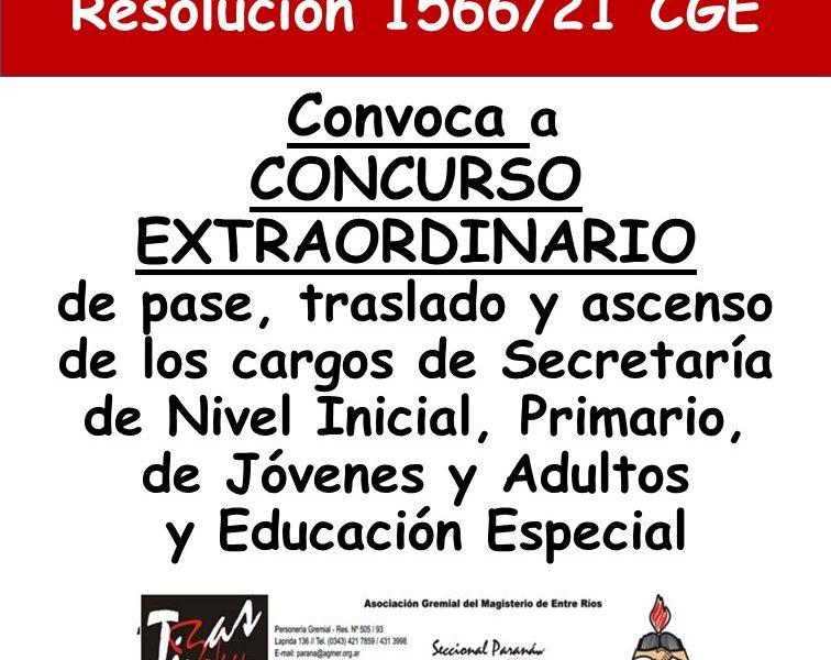 Resolución 1566/21 CGE, que convoca a concurso extraordinario de pase, traslado y ascenso de los cargos de Secretaría de Nivel Inicial, Primario, de Jóvenes y Adultos y Educación Especial