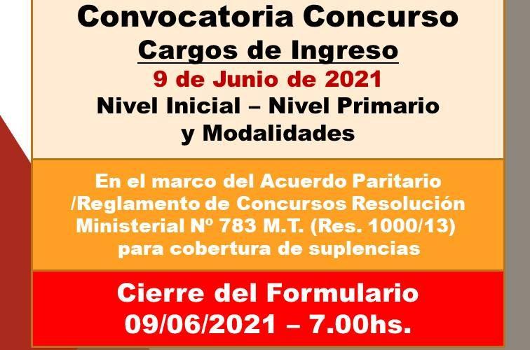 Departamental Paraná – Convocatoria Concurso Cargos de Ingreso – 9 de Junio 2021 – Nivel Inicial – Nivel Primario y Modalidades