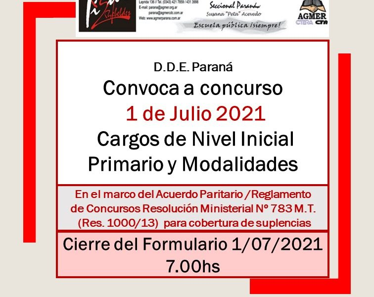 Dptal Paraná – Convocatoria Concurso Cargos de Ingreso – 1 de Julio de 2021 – Nivel Inicial – Nivel Primario y Modalidades