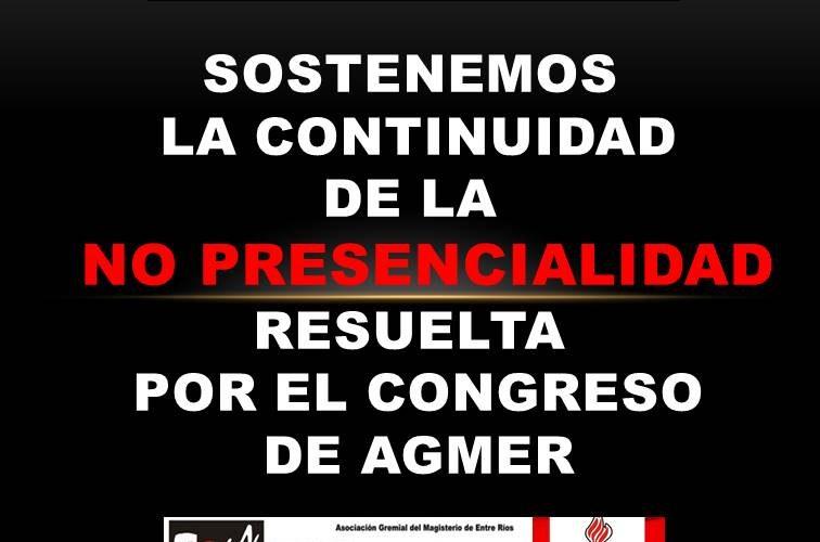 Sostenemos la continuidad de la no presencialidad resuelta por el congreso de Agmer