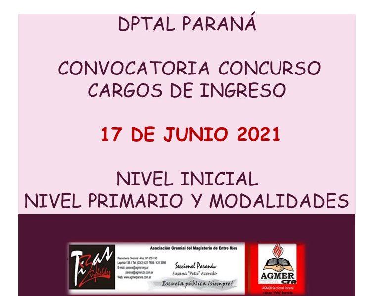 Dptal Paraná – Convocatoria Concurso Cargos de Ingreso – 17 de Junio 2021 – Nivel Inicial – Nivel Primario y Modalidades