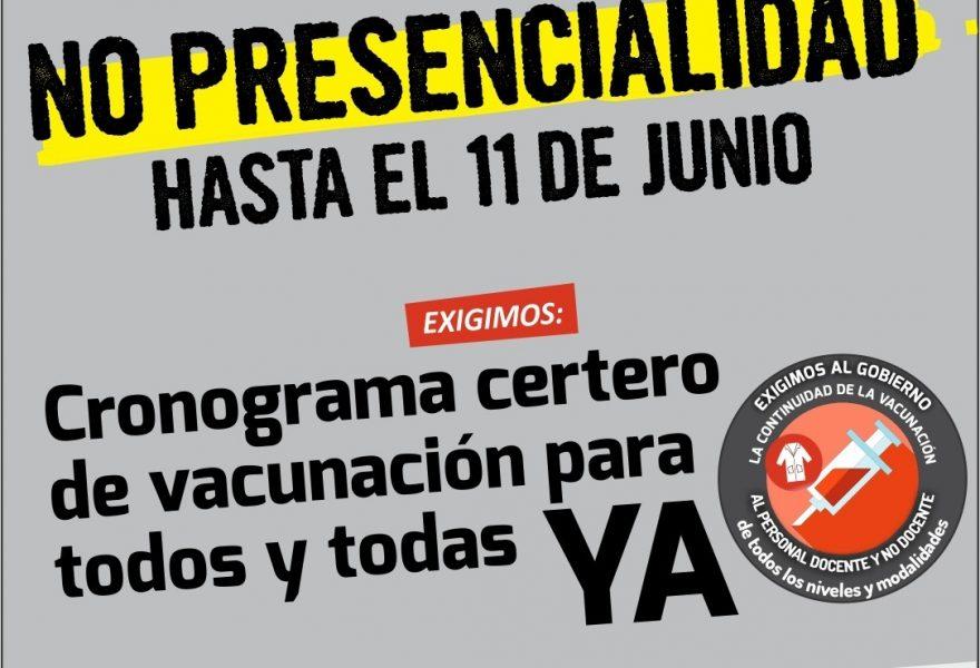 AGMER resolvió NO PRESENCIALIDAD y exige vacunas para todas y todos los Trabajadores de la Educación