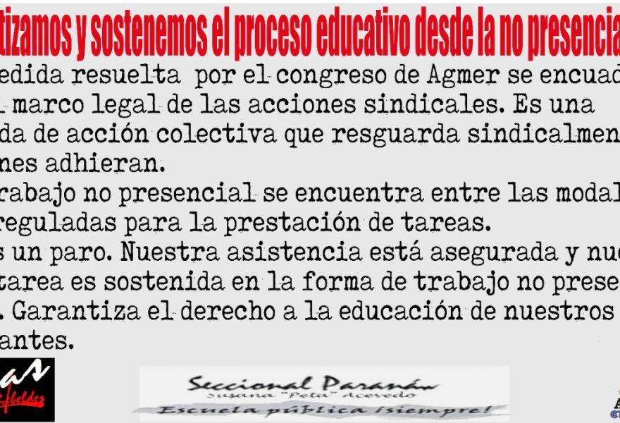 Garantizamos y sostenemos el proceso educativo desde la no presencialidad.