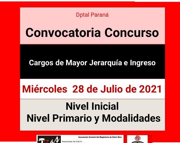 Dptal Paraná – Convocatoria Concurso Cargos de Mayor Jerarquía e Ingreso – 28 de Julio de 2021 – Nivel Inicial – Nivel Primario y Modalidades