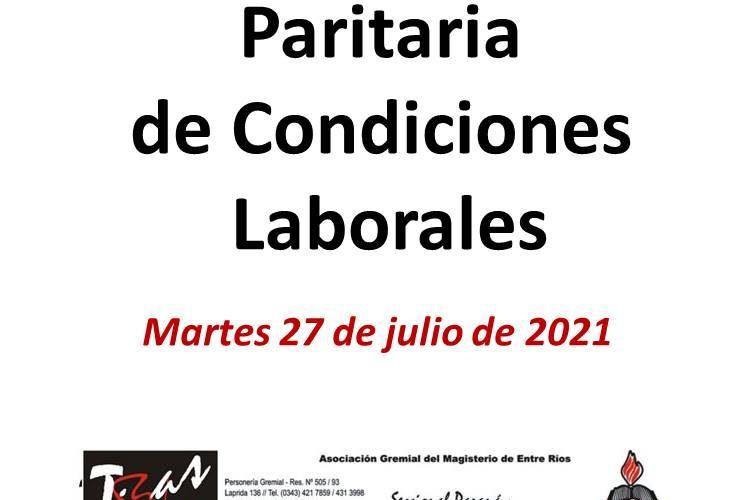 Martes 27 de julio de 2021, Paritaria de Condiciones Laborales