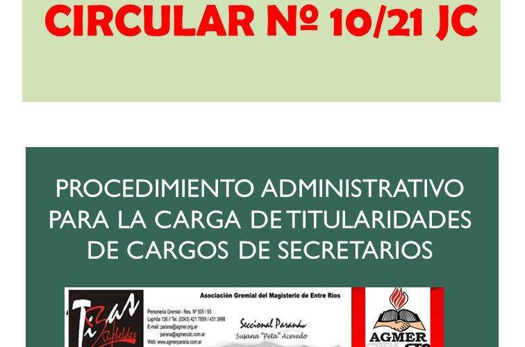 CIRCULAR Nº 10/21 JC.